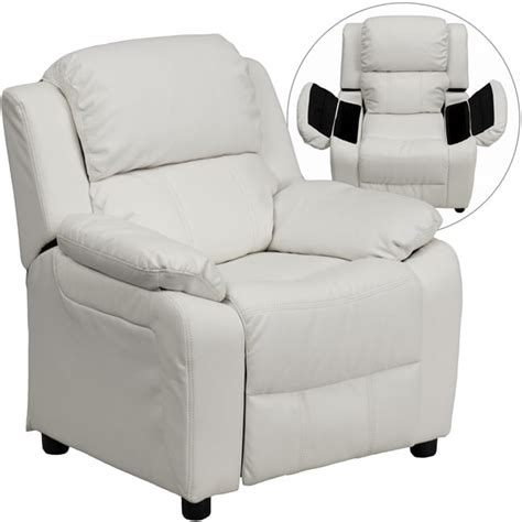 White Recliners by Deluxe Heavily Padded White Vinyl