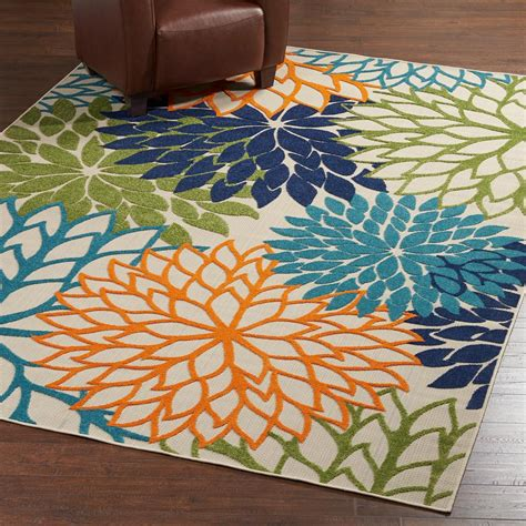 area rugs indoor outdoor nourison aloha multicolor 8 ft x 11 ft indoor outdoor