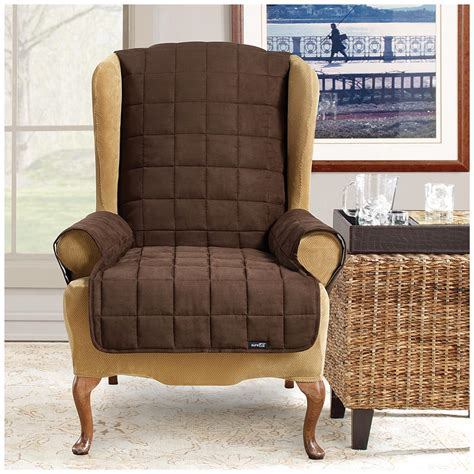 recliner chair pet covers sure fit 174 waterproof quilted suede wing chair recliner
