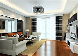 Living Room In Duplex Design Duplex House Living Room Ceiling Light And Curtains