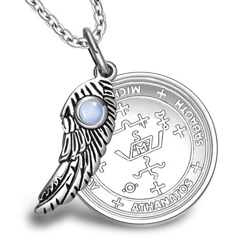 Get Look Wing Necklace On Richie And Cat Deeley by Archangel Michael Sigil Amulet Magic Powers Wing