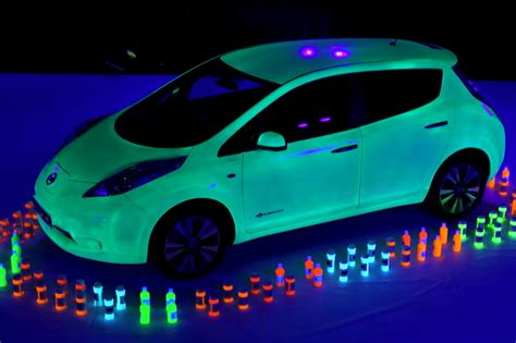 glow in the paint nissan glow in the nissan leaf breaks guinness world record