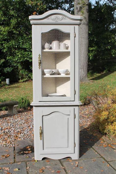 shabby chic corner cabinet vintage shabby chic corner display cabinet grey cream