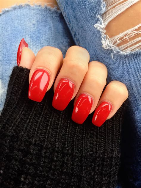 short red coffin nails prettyprettyfingers pinterest medium length monroe red coffin ballerina gel nails