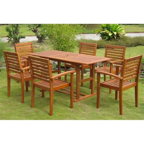 7 piece wood patio dining set in natural tt ree 124 1b