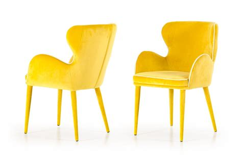 Yellow Fabric Dining Chairs Modrest Tigard Modern Yellow Fabric Dining Chair