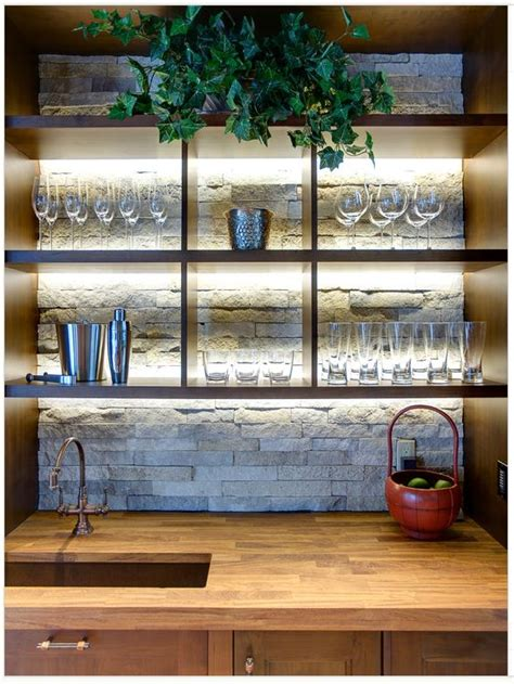 creative bar tops 20 creative basement bar ideas open shelving glasses