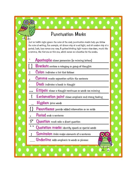printable punctuation poster free punctuation marks poster preschool printables by