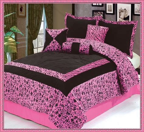 Pink King Comforter by 7pc Luxury Faux Fur Safarina Pink Black Zebra