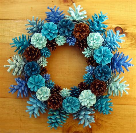 pine cone craft projects handmade earthy shades of blue pine cone wreath