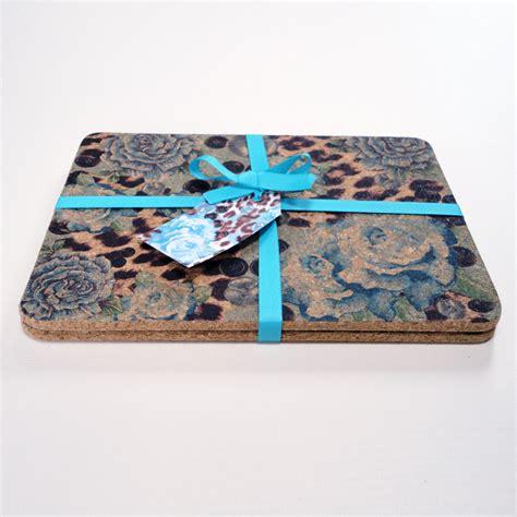 Designer Place Mats by Two Blue Skin Print Cork Placemats Decorque