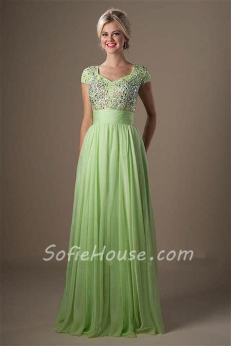 light green dress with sleeves modest a line cap sleeve light green chiffon beaded
