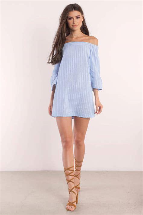 light blue and white striped dress light blue dress shoulder dress blue smock dress