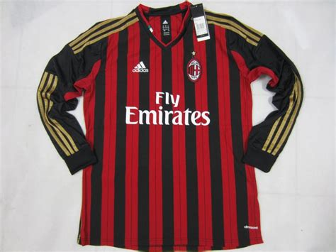 Jersey Bola Ac Miland Home Loong Ls Sleeve Official 17 18 Grade Ori 13 14 ac milan home sleeve jersey shirt ac milan