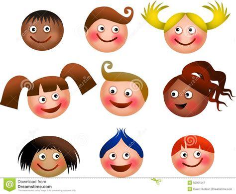 caritas de ninos animados caras felices de los cabritos stock de ilustraci 243 n