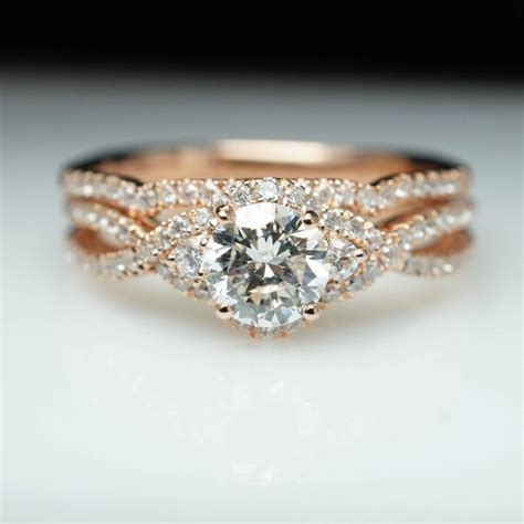 14k gold halo engagement ring wedding band