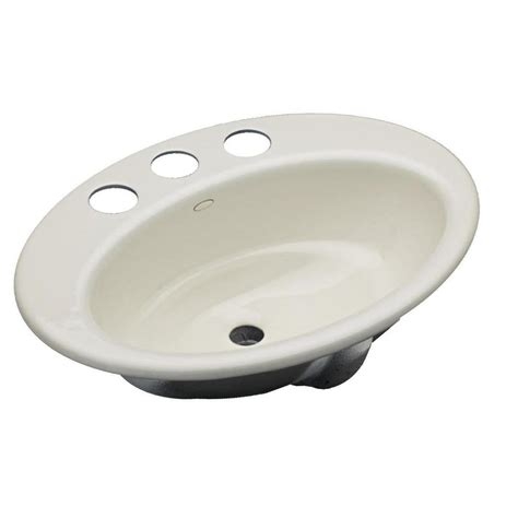 cast iron sink drain kohler thoreau drop in cast iron bathroom sink in biscuit