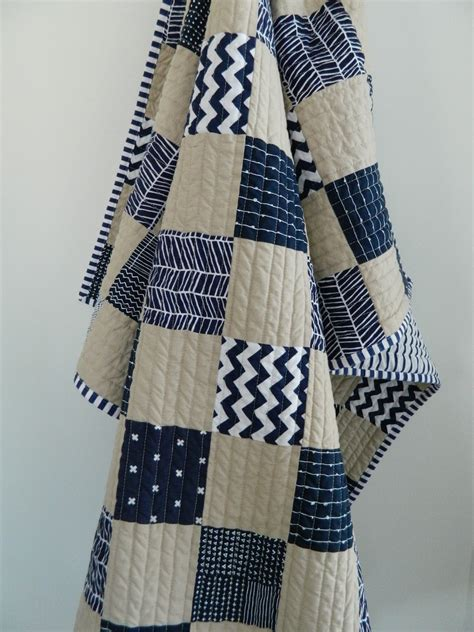 Navy Quilts For Sale Navy Parchment Baby Quilt S O T A K Handmade