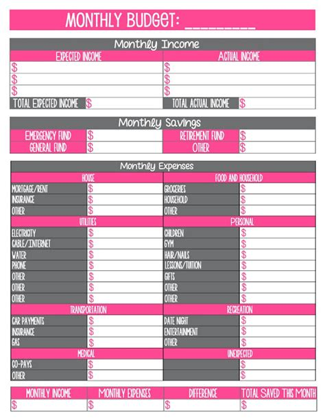 free printable monthly budget template free printable monthly household budget sheet 1000 ideas