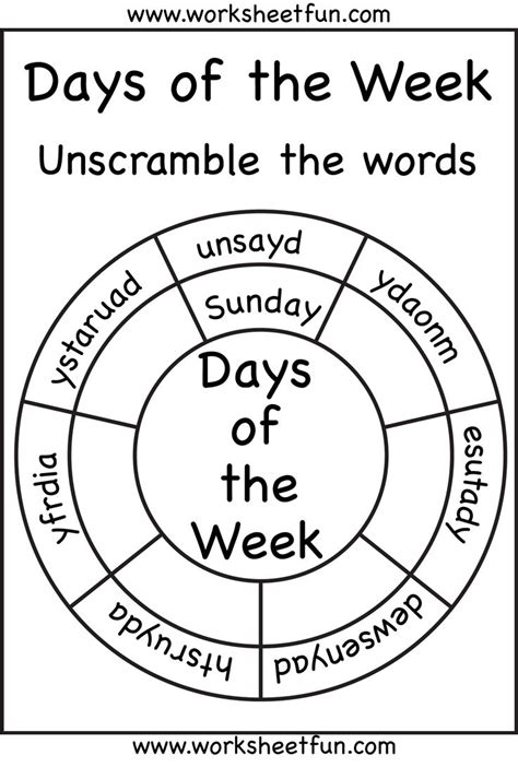 day kindergarten activities days of the week kindergarten worksheets kelpies