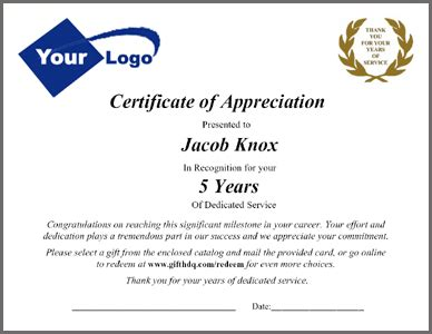 Service Certificate Letter Exles Employee Service Awards Packets And Letters Customizing