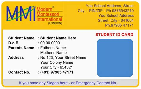 Student Identification Card Template by Template Galleries Montessory Play School Id Card Templates