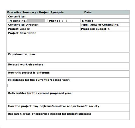 synopsis template sle executive summary template 12 documents in pdf