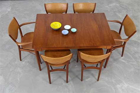 teak dining sets teak dining set by finn juhl produced by bovirke with original leather at 1stdibs