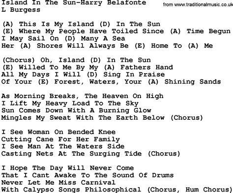 in lyrics country island in the sun harry belafonte lyrics and