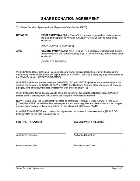Gift Agreement Letter Donation Agreement Template Sle Form Biztree