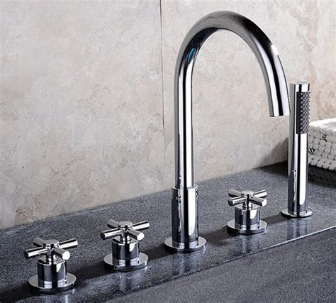 one piece bathtub faucet reims deck mounted 5 piece bathtub faucet all in one