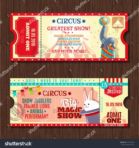 show ticket template circus big magic show trained animals stock vector