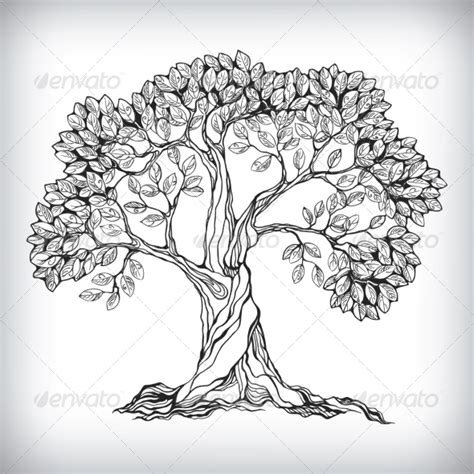 drawn to nature a hand drawn tree symbol graphicriver