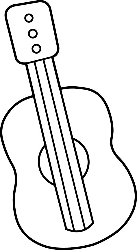 Guitar Clipart Outline by Mini Guitar Coloring Page Free Clip