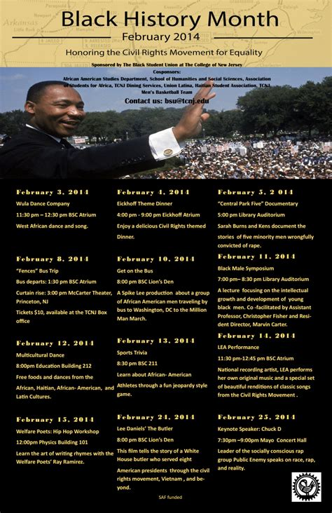 Bsu Academic Calendar Black History Month Calendar Provided By Bsu Tcnj Eof