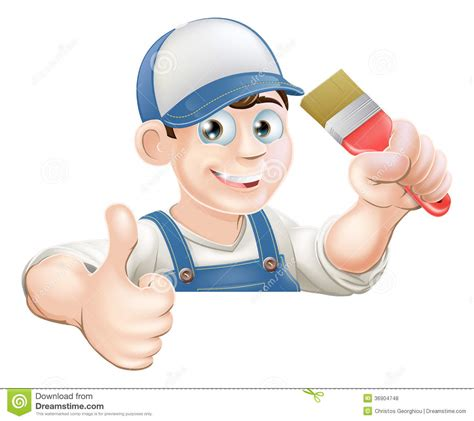 Home Builder Design Center paint brush man over sign thumbs up royalty free stock