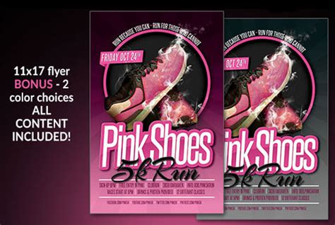 5k flyer template pink shoes 5k run flyer flyer templates on creative market