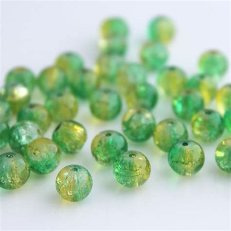 Crackle Green 8mm 8mm green and yellow crackle beadbubble