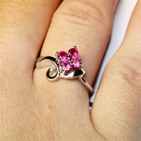 ruby pink flower promise ring pink cubic zirconia