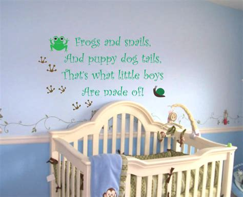 Nursery Wall Decals For Baby Boy Baby Boy Nursery Saying Frogs And Snails Wall Quote Wall Decal