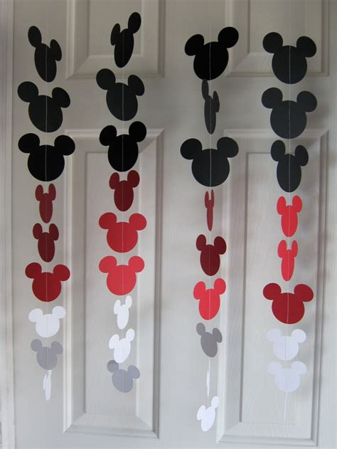 disney themed decorations black and white mouse style garland strand birthday