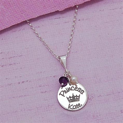 personalised silver princess necklace by indivijewels