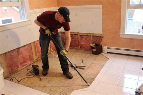 how to remove bathroom floor tiles how to remove a tile floor and underlayment a concord