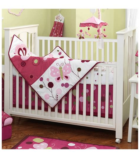 lambs raspberry swirl 5 crib bedding set
