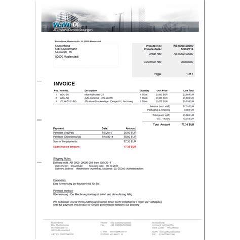 Muster Rechnung Drittland Jtl Wawi Druckvorlagen Set Englisch Design 01 Wawi Dl 70 50
