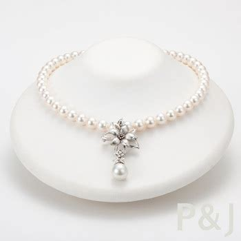 Flower Pearl Necklace Top japanese akoya pearl necklace with flower design pendant