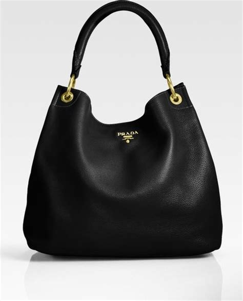 Prada Vitello Daino Mini Hobo Purse by Prada Vitello Daino Hobo Bag In Black Lyst