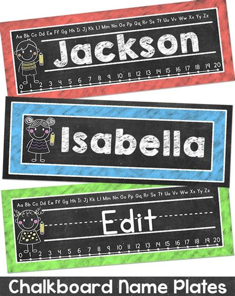 Chalkboard Theme Name Plates Classroom Decor Student Student Desk Plates