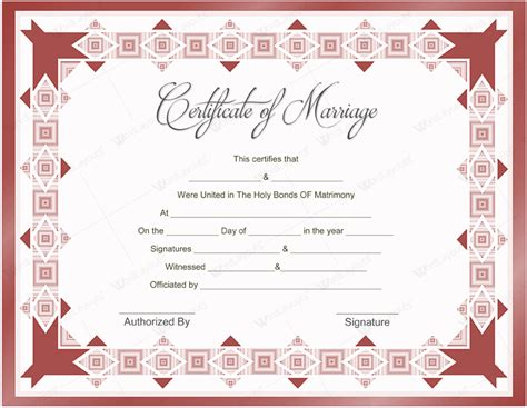 printable marriage certificate template pin templates