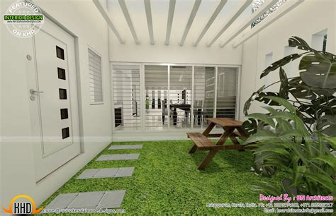 kerala home design with courtyard all in one house elevation floor plan and interiors